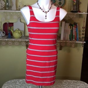 Forever 21 Red & Gray Striped Tank Dress D-32